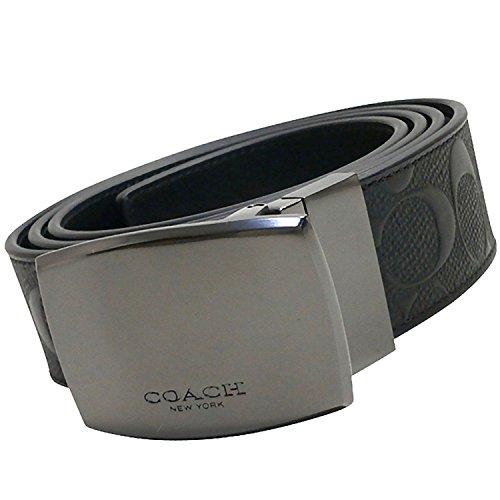 Coach Plaque Cut to Size Reversible Signature Crossgrain Leather Belt, Black/Black by Coach