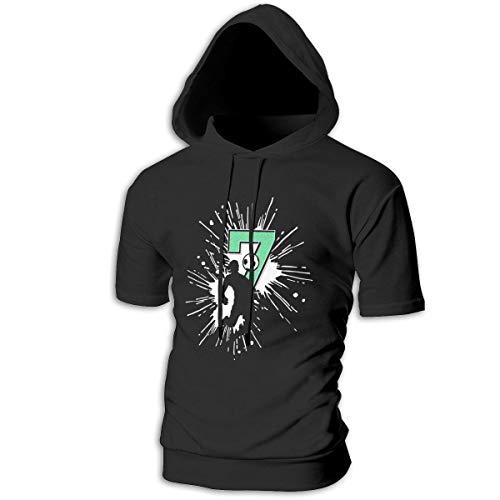 ZOE-SHOP Soccer Number 7 Mens Hipster Hip Hop Short Sleeve Longline Pullover Hoodies Shirts -
