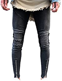 Men's Skinny Slim Fit Straight Ripped Destroyed Distressed Zipper Stretch Knee Patch Denim Pants Jeans
