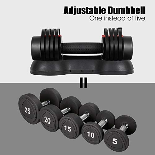 Adjustable Dumbbells, 5, 10, 15, 20, 25 lbs Dumbbell Weights Set for Men and Women, Fast Adjust Weight in 1 Second, Save Space and for Easier Transitions in Home Gym Workouts(Single) 3