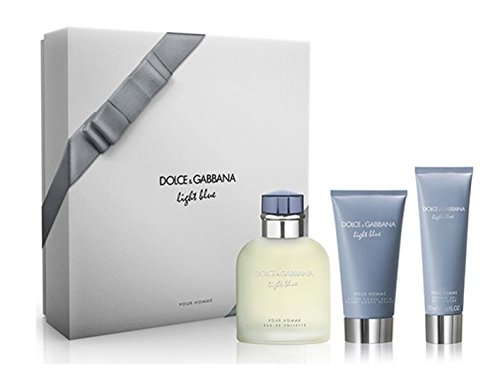 Dolce And Gabanna 3 Piece Gift Set for Men, Light Blue, 3 Count
