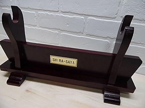 NEW! Deluxe Wooden Table Horizontal SHIRA-SAYA SWORD display Katana Sword Stand - Excalibur Folding Knife