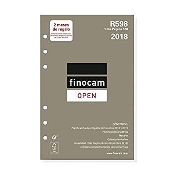 Finocam Open R598 - Recambio anual 2018, español, 117 x 181 mm, 70 g/m²