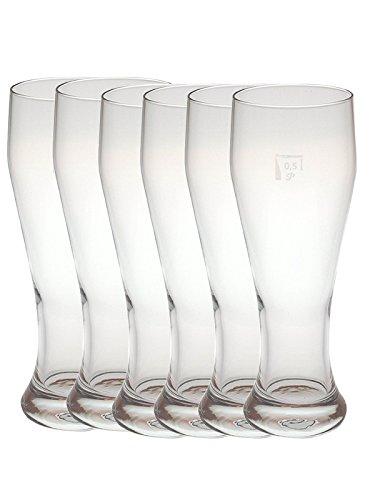 6 Weizenbiergläser Gastronomiebedarf schwere Gläser mit 0,5 Liter Füllstrich Vitrea