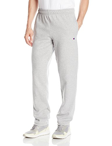 Champion Men's Powerblend Relaxed Bottom Fleece Pant, Oxford Gray, L