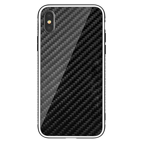 Carbon Fiber Case for iPhone Xs/X, Durable Slim Fit Real Glossy Carbon Fiber TPU Hybrid Snap-On Case Cover with Shockproof Bumper Full Protection for iPhone XS/10S(2018) & X/10(2017) 5.8 Inch-Black