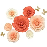 pictures of flower arrangements  Paper Flower Decorations Set of 7,Handcrafted Large Crepe Paper Rose Peony Butterfly Assorted,for Wall Boho Nursery Party Wedding Backdrop Centerpiece Photo Booth(Orange+Peach+Cream)