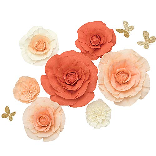 Paper Flower Decorations Set of 7,Handcrafted Large Crepe Paper Rose Peony Butterfly Assorted,for Wall Boho Nursery Party Wedding Backdrop Centerpiece Photo Booth(Orange+Peach+Cream)