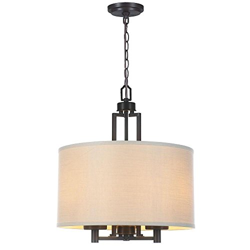 World Imports Lighting  61010 Kole 3-Light Oil Rubbed Bronze Pendant with Off White Linen Shade from World Imports Lighting