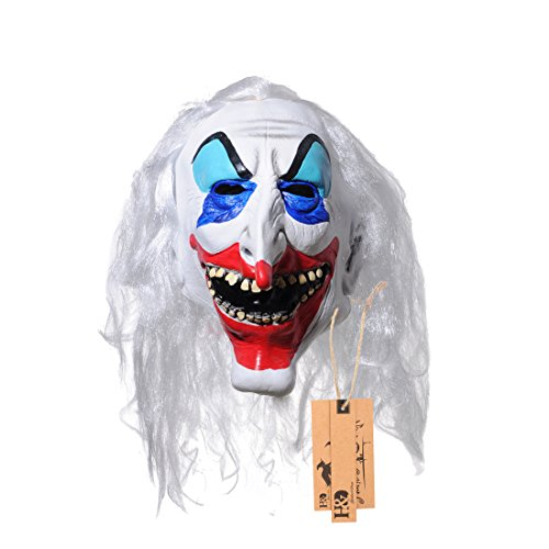 YUFENG Halloween Clown Terrorist Masks,Creepy Scary or Funny Clown Latex Mask for Costume party or Cosplay (Long nose clown -