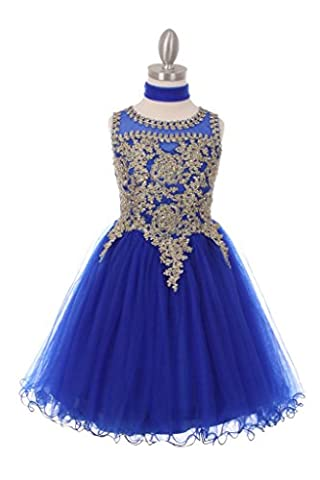The Couture Dresses- Elegant gold trimmed wired tulle dress, Royal Blue 4 - Couture Formal Dresses