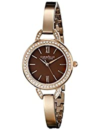 Bulova 44L134 Caravelle New York Women's Quartz Analog Watch with Brown Dial and Rose Gold Stainless Bangle