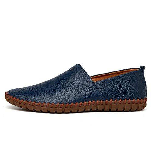 suave zapato hechos hombres hombre deslizamiento Mocasines TAMAÑO barco de Blue en vaca de para cuero genuino de a la Bridfa 38~47 del los mano de cuero el Mocasines azul MÁS vZT84wq8R