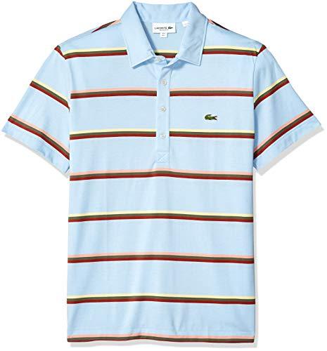 - Lacoste Men's S/S Striped Light Jersey PIMA Cotton Polo Regular FIT, Creek/Multi, Large