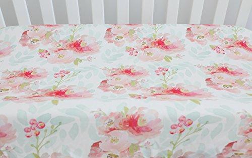 Sahaler Baby Girl Crib Bedding Changing Pad Cover (Pink Mint Floral) by Sahaler