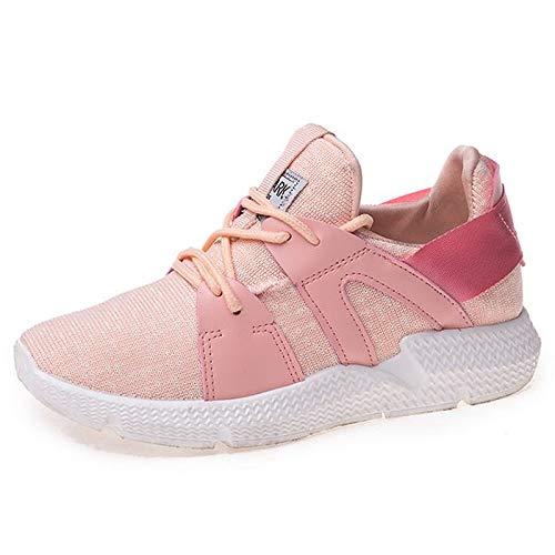 ZHZNVX Zapatos de Mujer PU (Poliuretano) Spring & Summer Comfort Sneakers Flat Heel Round Toe Blanco/Negro / Rosa Pink