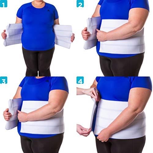 BraceAbility 2XL Plus Size Bariatric Abdominal Stomach Binder | Obesity Girdle Belt for Big Men & Women with a Large Belly, Post Surgery Tummy & Waist Compression Wrap
