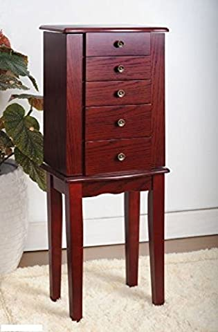 Organizer Necklace Wood Veneer Armoire Jewelry Cabinet Box Storage Chest Stand - Thermos Bbq Grills