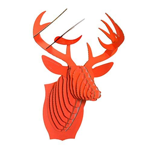 Cardboard Safari Recycled Cardboard Animal Taxidermy Deer Trophy Head, Bucky (Large, Hunter Orange) (Trophy Head Moose)