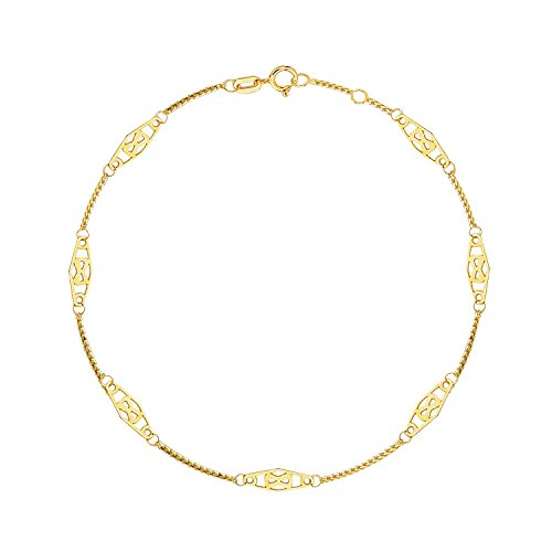 - MCS Jewelry 14 Karat Yellow Gold Solid Infinity Thin Anklet Ankle Bracelet (Adjustable Length: 9