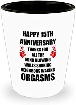 Amazon Com 15 Year 15th Wedding Anniversary Gifts Sexy Funny Shot Glass For Him Husband Men Wife Women Marriage Lover Gay Partner Valentine S Day Romantic Love Shot Glasses