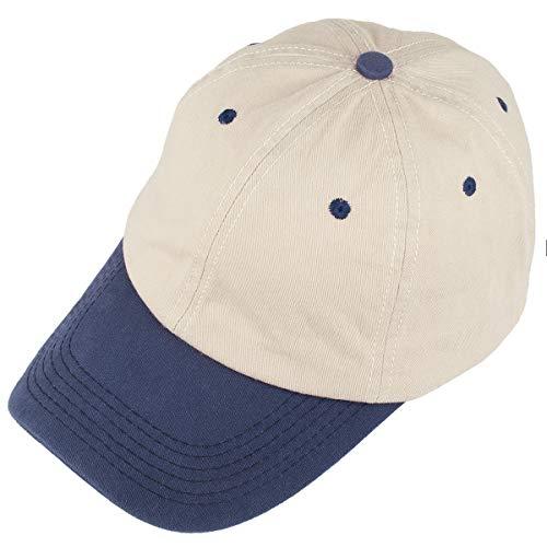 Samtree Unisex Patchwork Baseball Cap, Low Profile Six Panel Sport Hat(Beige + Blue)