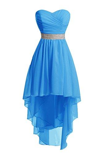 JAEDEN Mujeres Sin Tirantes Vestidos de Dama de Honor Largo Gasa Alto-bajo Vestido de Fiesta Vestido de Noche Azul