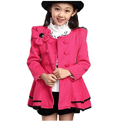 (LSERVER Girl's Elegant Faux Fur Woolen Collar Fashion Warm Blended Winter Coat Lace Flower Princess Bowknot Jacket Rose)