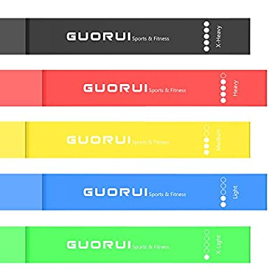 GUORUI Exercise Resistance Loop Bands Set of 5, Best Stretch Bands from Premium Natural Latex, for Workouts or Physical Therapy with Carry Bag and Practice manual