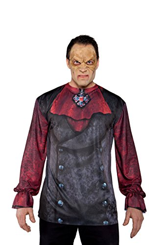 Underwraps Costumes Men's Vampire Costume - Photo Real Shirt, Black/Red, One Size (Easy Halloween Costumes Men)