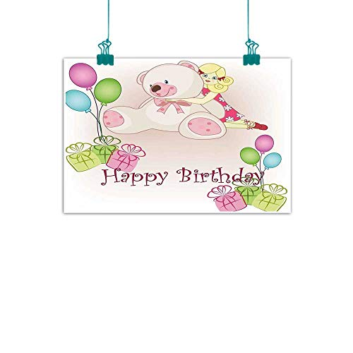 """Warm Family Kids Birthday Living Room Decorative Painting Baby Girl Birthday with Teddy Bears Toys Balloons Surprise Boxes Dolls Image Modern Minimalist Atmosphere 47"""" Wx32 L from Warm Family"""