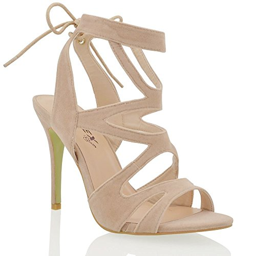 Essex Glam Womens Stiletto High Heel Cut Out Nude Faux Suede Lace Up Sandals Shoes 10 B(M) US
