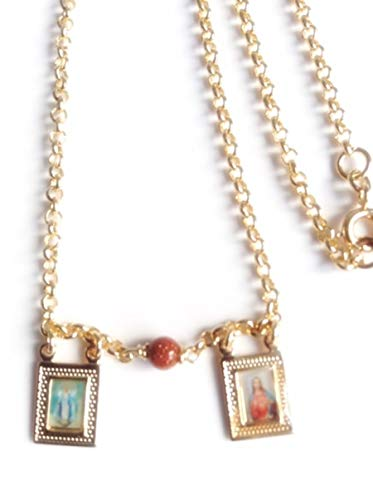 Scapular Catholic Sacred Heart of Jesus and Miraculous Medal Necklace