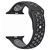 OULUOQI 42mm Soft Silicone Replacement Band for Apple Watch Series 2, Series 1, Sport, Edition, M/L Size ( Black / Gray )