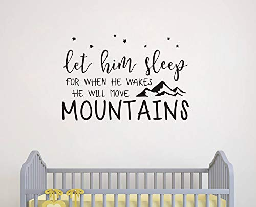 (Wall Decal Kids Let Him Sleep for When He Wakes He Will Move Mountains Quote Wall Decals Nursery Stars Wall Decal Vinyl Wall Stickers for Baby Boy Kids(Y25) (Small, Black))