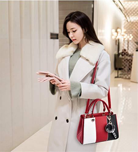 Spalla Borse Messenger Lmpermeabile Xiuy Shopper Borse Fashion Classica Righe Lavoro Secchiello Borse Metallo Borse Red a Donna Splicing Borse Colore Classici Da Mano Borse xwqRUFwPO