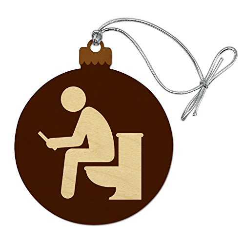 GRAPHICS & MORE Man Pooping on Toilet Funny Wood Christmas Tree Holiday Ornament