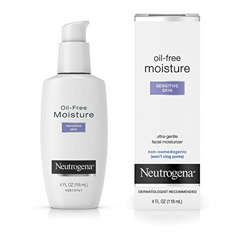 Neutrogena Oil-Free Daily Facial Moisturizer for Sensitive Skin, Ultra-Gentle & Lightweight Moisturizers Free of Fragrances & Dyes, 4 fl. oz (Best Moisturizer For Face Dry Sensitive Skin)