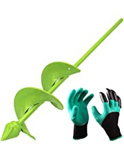 """[Upgrade Version]BLIKA Auger Drill Bit, Garden Plant Flower Bulb Auger 3"""" x 16"""" Rapid Planter with Garden Genie Gloves, Earth Auger Bit, Non-Slip Hex Drive fits Any 3/8-inch Drill"""