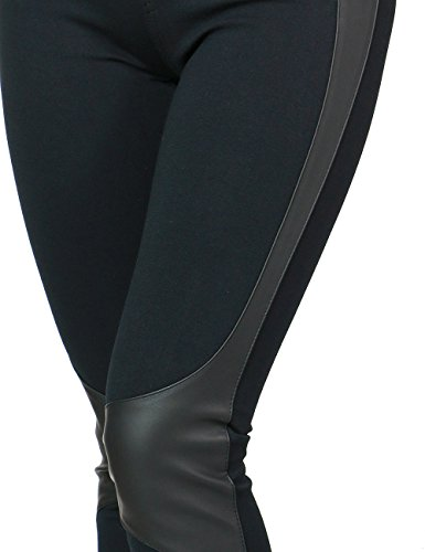 Womens Sexy Fitted Stretchy Pants With Faux Leather Side Trim and Knee Accent (LARGE, BLACK-AK22235)