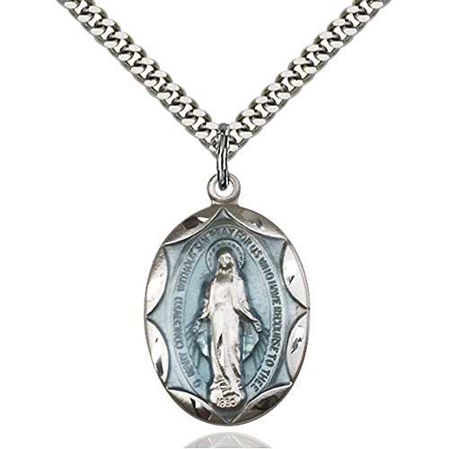 Sterling Silver Miraculous Blue Epoxy Pendant 1 x 5/8 inches with Heavy Curb - Epoxy Miraculous