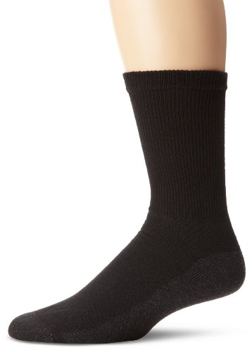 Hanes Men's FreshIQ Cushion Crew Socks, Black, 10-13 (Shoe Size 6-12) (Pack of 6)