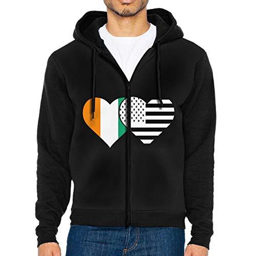 - Men's Ivory Coast Flag and American Flag Hoodie Sweatshirt Cool Printed Hooded Pullover Pocket