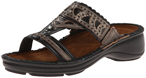 Naot Women's Oleander Flat,Black Madras Leather/Pewter Leather,38 EU/6.5-7 M US by NAOT