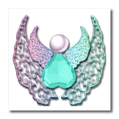 3dRose ht_167210_2 Jeweled Angel Art with Lace Digital 3D Wings Iron on Heat Transfer, 6 by 6