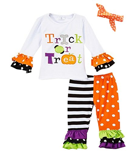3pc Infant Baby Girl Halloween Trick or Treat Pant Set Costume Outfit