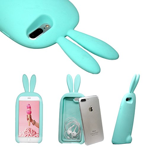 iPhone 7 Plus Case, NEW 3D Super Cute 3D Bunny Rabbit Headphone and Charger Internal Storage Silicone Slim Soft Case with Adorable Stand Tail Holder for iPhone 7 Plus (2016) ()