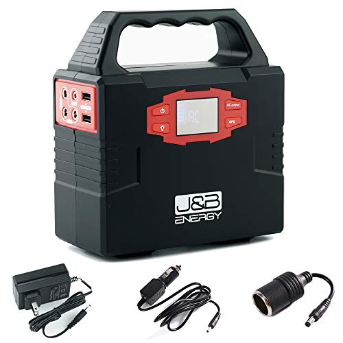 (Portable power station 150Wh generator battery bank by J&B Energy, with AC power inverter 110/60Hz, 5V USB ports, 12V DC Port, perfect for camping, emergency, traveling, CPAP)