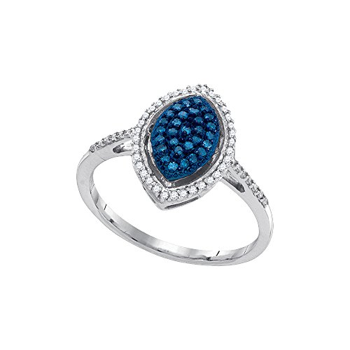 Roy Rose Jewelry 10K White Gold Ladies Blue Colored Diamond Oval Cluster Ring 1/4 Carat tw ~ Size 7 - Oval Cluster Ring