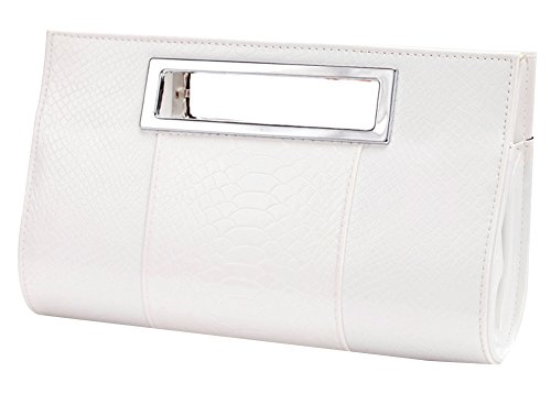 Ilishop Women's Classic Crocodile Pattern Faux Leather Metal Grip Clutch - Purse Leather Clutch Faux